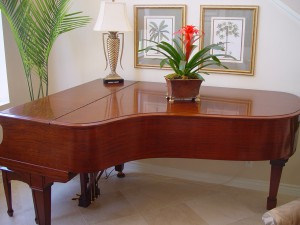 Please do not place containers with plants or fresh flowers that can sweat moiture onto the piano's finish.